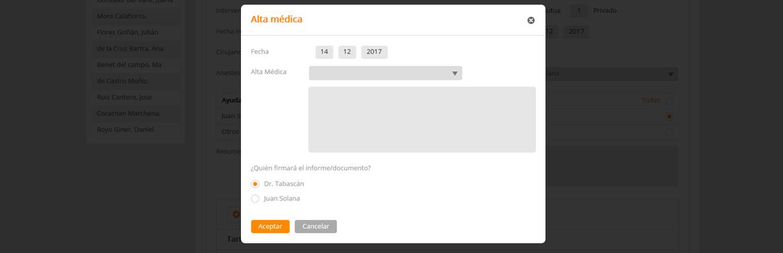 Software medico alta quirúrgica